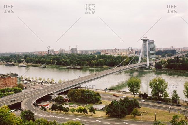 BRATISLAVA, SLOVAKIA: OCTOBER 02, 2016: The SNP, New bridge across the Danube river, panoramic view of the city from Bratislava castle, Slovakia