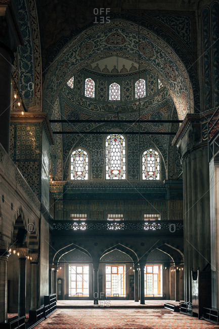 June 6, 2018: Beautifully decorated walls and ceiling on majestic mosque in Istanbul, Turkey