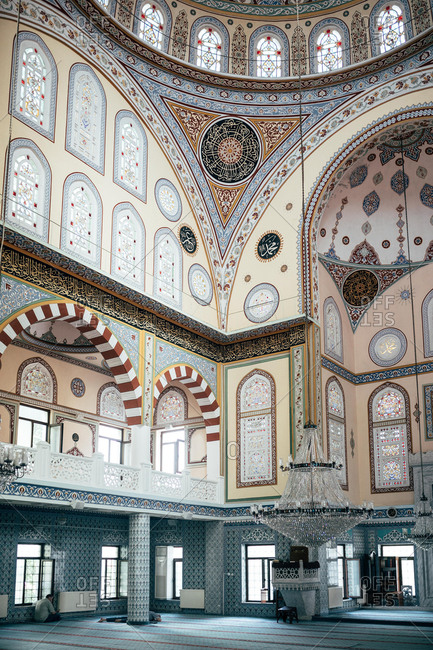 June 7, 2018: Beautifully decorated walls and ceiling on majestic mosque in Istanbul, Turkey