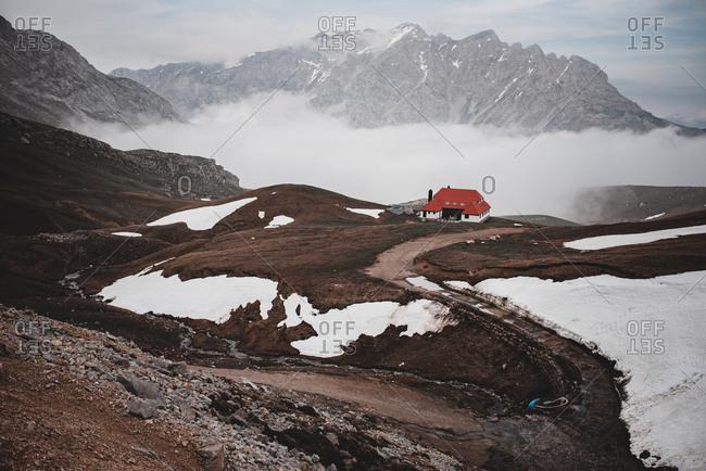 Snowy hills in fog