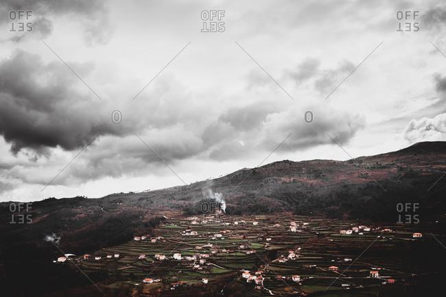 Settlement on hilly terrain