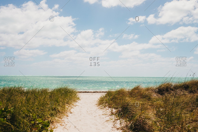 Sandy path leading to calm blue sea on cloudy day in Miami