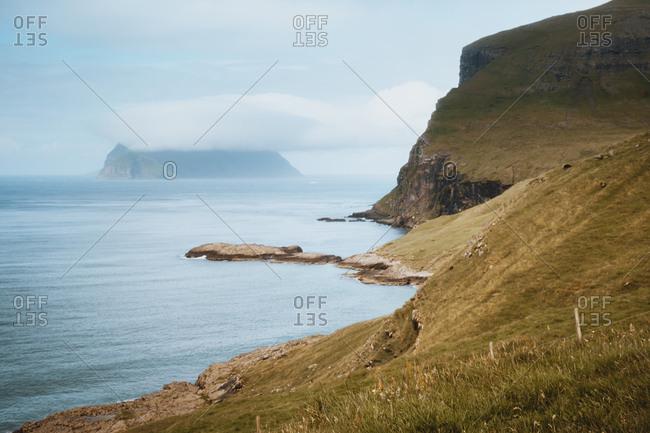 Ocean at cliff in Feroe Island