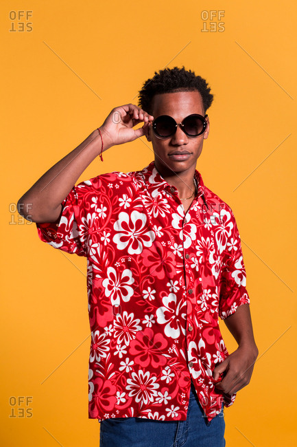 Stylish cheerful man in beach shirt