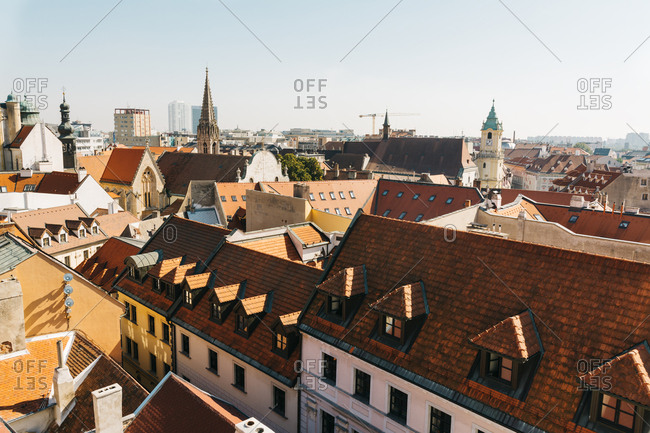 Bratislava. Elevated view of red rooftops and facades in old city ,cityscape. Eslovaquia