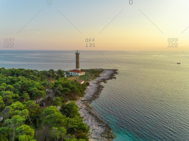 Aerial view of Veli Rat lighthouse on island Dugi Otok in Croatia.