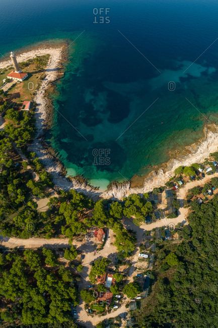 Aerial view of Veli Rat camp grounds on island Dugi Otok in Croatia.