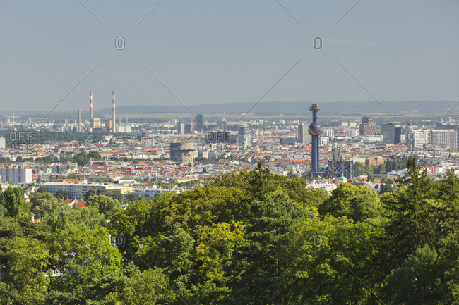 View over Vienna from the Cobenzl, 19th district Dobling, Vienna, Austria