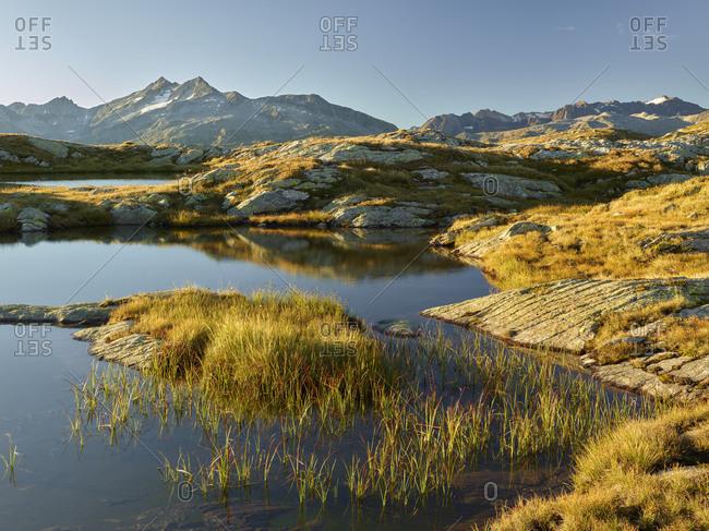 anonymous lake in the Grimselpass, Pizzo Gallina, the Bernese Oberland, Switzerland