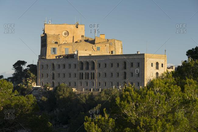 Cloister, Santuario de San Salvador, Majorca, the Balearic Islands, Spain
