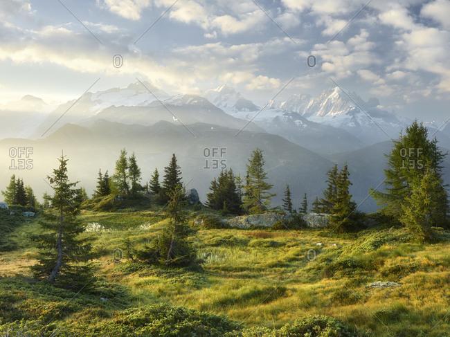 Emosson, Valais, Switzerland (foreground), Aiguille Verte, Haute-Savoie, France (background)