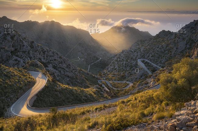 View of the Coll des Reis, Tramuntana, Majorca, the Balearic Islands, Spain