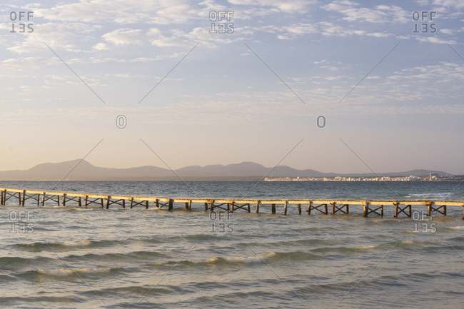 Bridge in the bay Badia d'Alcudia, Majorca, the Balearic Islands, Spain