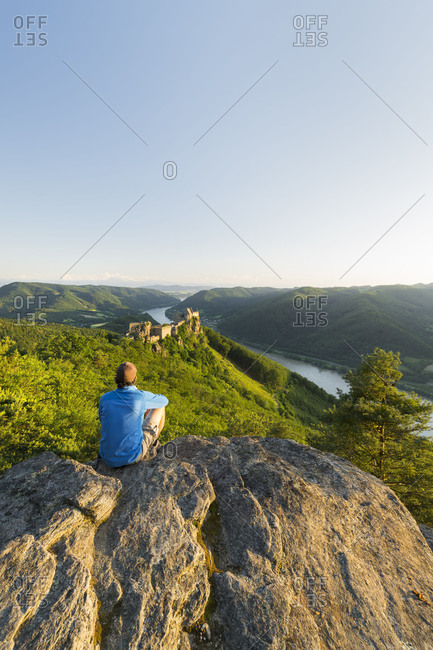 a person, castle ruin Aggstein, the Danube, Wachau, Lower Austria, Austria