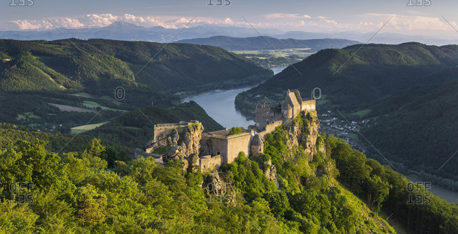 Castle ruin Aggstein, the Danube, Wachau, Lower Austria, Austria