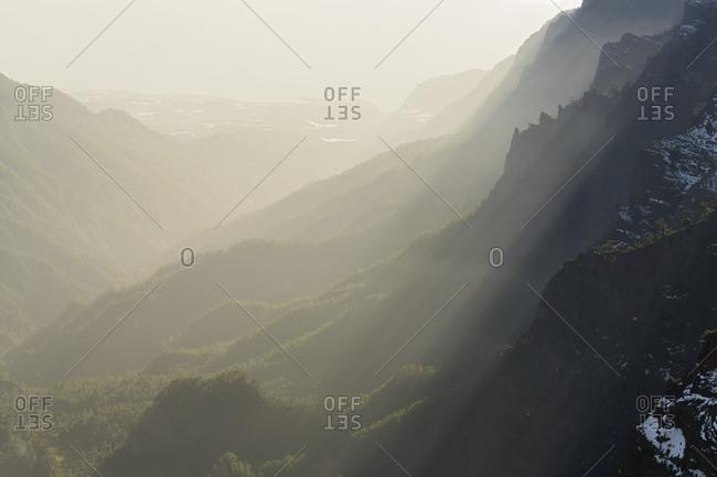 Caldera de Taburiente, back light, island La Palma, Canary islands, Spain