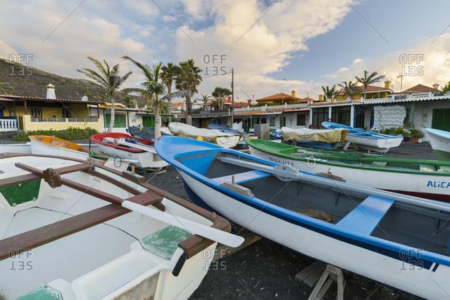 May 24, 2017: boats on the beach with La Salemera, island La Palma, Canary islands, Spain