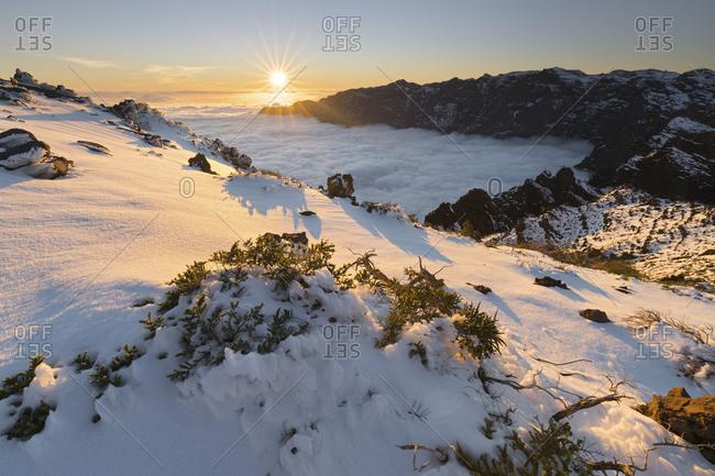 View of the Pico de la Nieve, Caldera de Taburiente, island La Palma, Canary islands, Spain