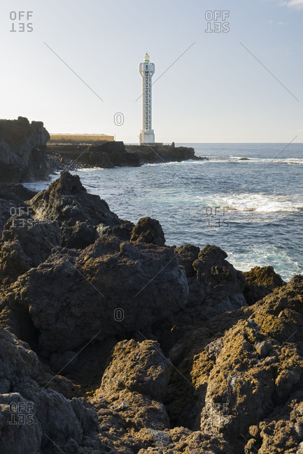 Lighthouse in the Punto de la lava, Las Hoyas, island La Palma, Canary islands, Spain