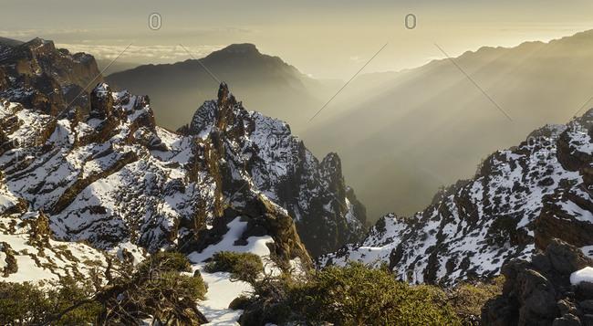 View of the Pico de la Cruz, Caldera de Taburiente, island La Palma, Canary islands, Spain