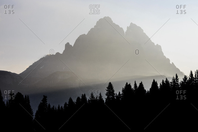 The haze of dawn around the Three Peaks of Lavaredo Veneto Sesto Dolomites Italy Europe