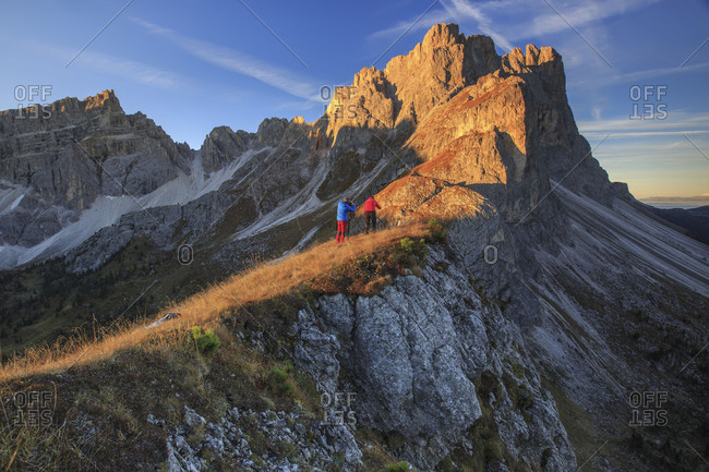 Photographers in action Furcella De Furcia Odle Funes Valley South Tyrol Dolomites Trentino Alto Adige Italy Europe