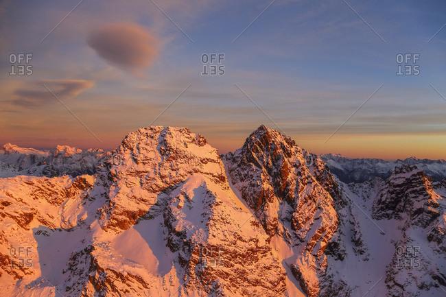 Aerial view of Corni Bruciati at sunset Masino Valley Valtellina Lombardy Italy Europe