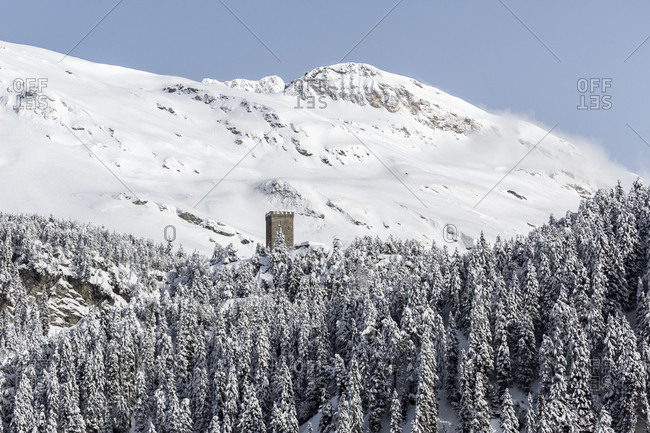 View of the Belvedere Tower framed by snowy woods Maloja Pass Bregaglia Valley Canton of Graubunden Engadine Switzerland Europe