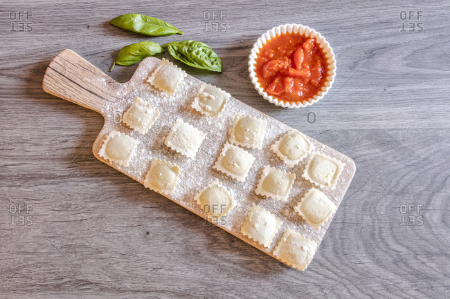 Handmade ravioli with fresh ingredients a typical pasta of Italian cuisine