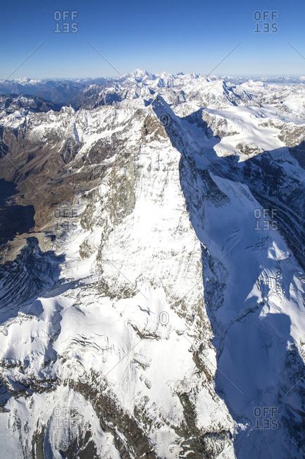 Aerial view of the snowy ridge of the Matterhorn Zermatt Canton of Valais Switzerland Europe