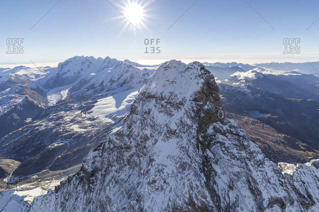Aerial view of the snowy ridge of the Matterhorn Zermatt Canton of Valais Switzerland Europe