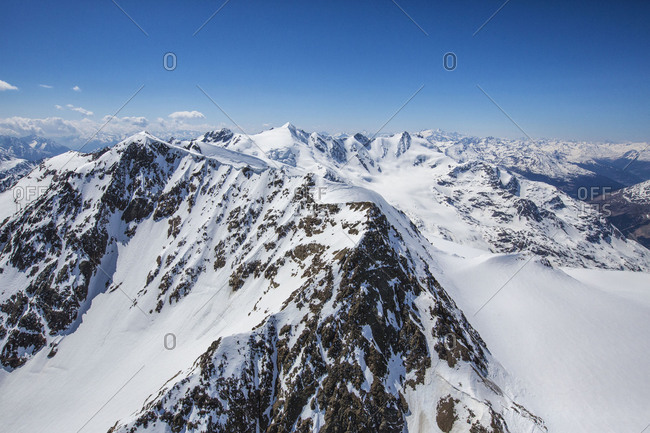 Aerial view of Forni Glacier and Peak Pejo Valtellina Lombardy Italy Europe