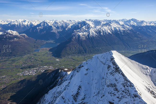 Aerial view of the snowy summit of Monte Legnone with Lake Como on background Alto Lario Lombardy Italy Europe