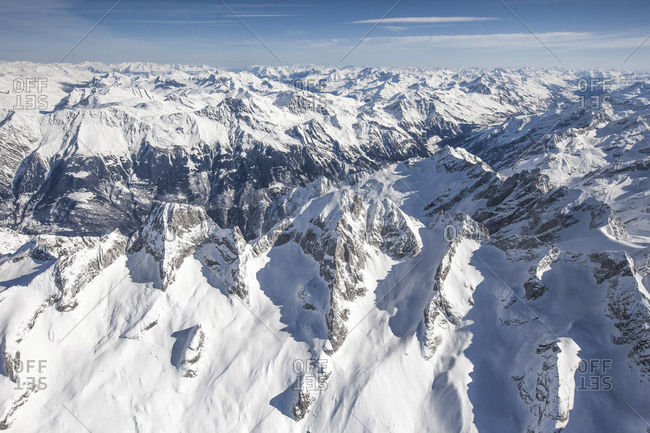 Aerial view of the snowy peaks Badile and Cengalo Masino Valley Valtellina Sondrio province Lombardy Italy Europe