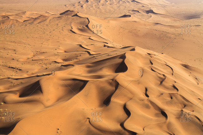 Aerial view of the sand dunes modeled by wind  Namib Desert Namibia Southern Africa