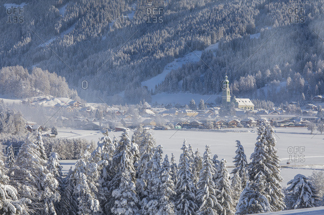 The village of Dobbiaco after an intense snowfall, Pusteria valley, dolomites, Trentino Alto Adige, Italy, Europe