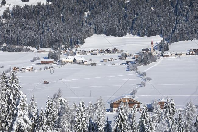 The small town of Santa Maria in winter, Dobbiaco, Pusteria valley, Trentino Alto Adige, Italy