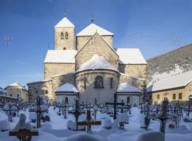 The collegiate church of San Candido and the cemetery, Pusteria valley, Trentino Alto Adige, Italy