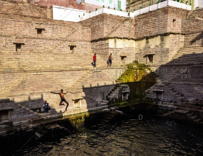 February 25, 2018: Children have a dips in jodhpur, Rajasthan, India