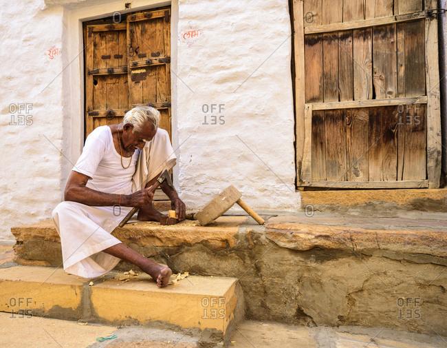 February 23, 2018: Wood worker, Jaisalmer, Rajasthan, India