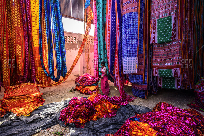 February 26, 2018: Woman in a textile industry in Pali, Udaipur, Rajasthan, India, Asia