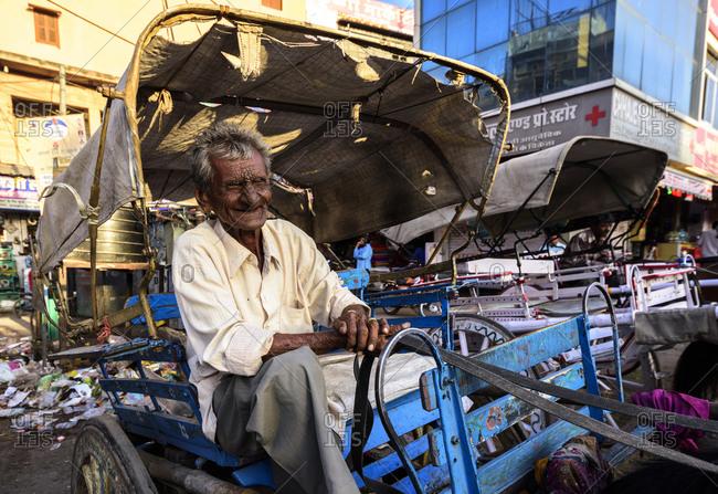 February 25, 2018: Old man portrait in Jodhpur, Rajasthan, India