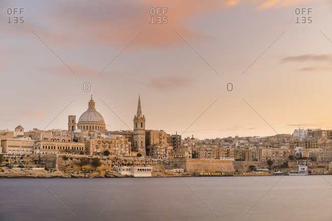 Valletta city with St. Paul's Cathedral at sunset, Malta, Europe