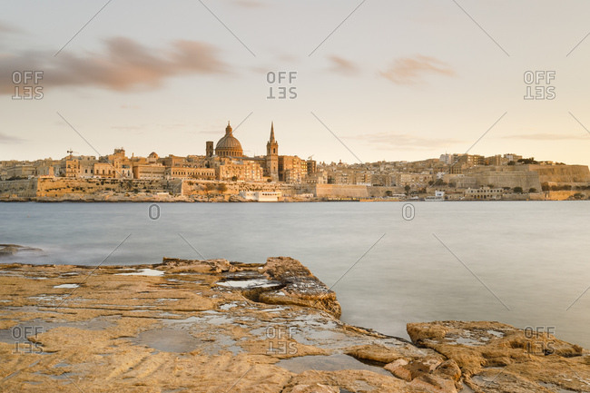 Valletta city at twilight, Malta, Europe