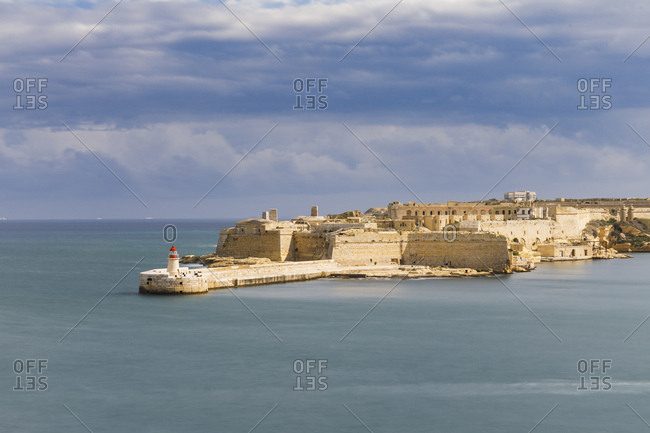 Lighthouse breakwater and defenses of Fort Rikasoli, Valletta, Malta
