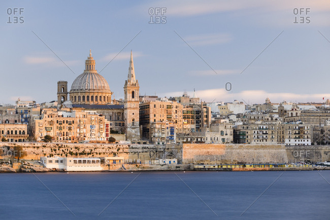 October 27, 2017: Valletta city with St. Paul's Cathedral at sunset, Malta, Europe