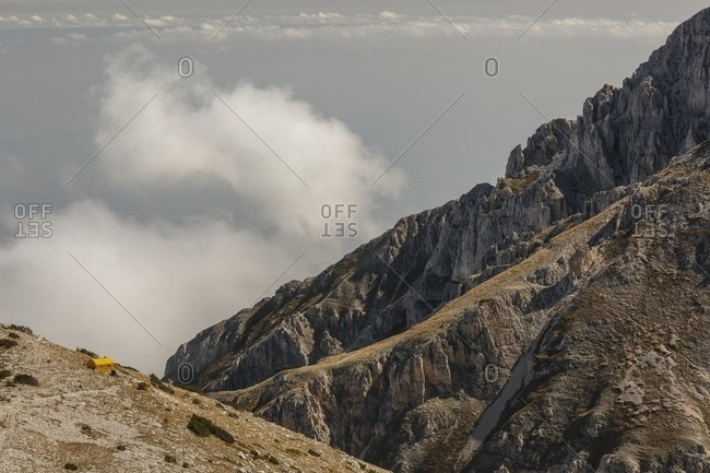 View from above of Carlo Fusco hut and the amphitheater of the Murelle, Majella national park, Abruzzo, Italy, Europe