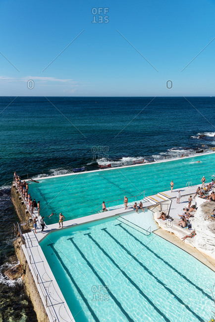 July 29, 2018: Outdoor swimming pool at Bondi beach in Sydney, Australia