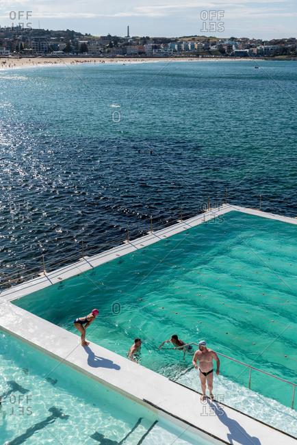 July 29, 2018:Outdoor swimming pool at Bondi beach in Sydney, Australia