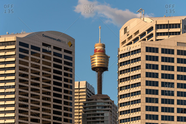 July 29, 2018: Sydney tower in the middle of some buildings in Sydney, Australia